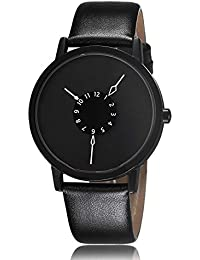 S & D New Amazing Black Dial Stylish Leather Strap Black Color Analog Watch For Men & Boys