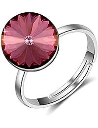 bacdbd917f6da Luxurina Femme classique rond ornées de cristaux de Swarovski® Bague  réglable Argenté