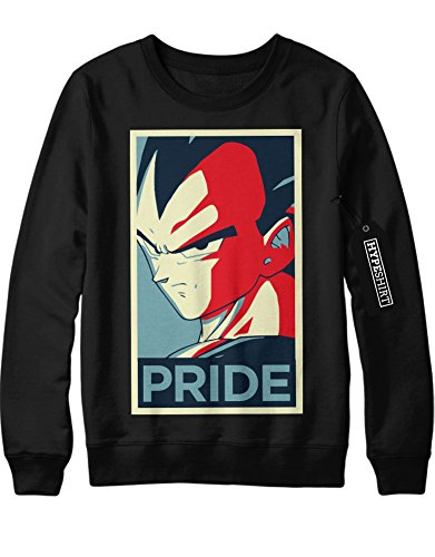 Sweatshirt Vegeta PRIDE Dragon Ball Z GT Super Son Goku Trunks Gohan C980003 Schwarz (Krillin Dbz Kostüm)