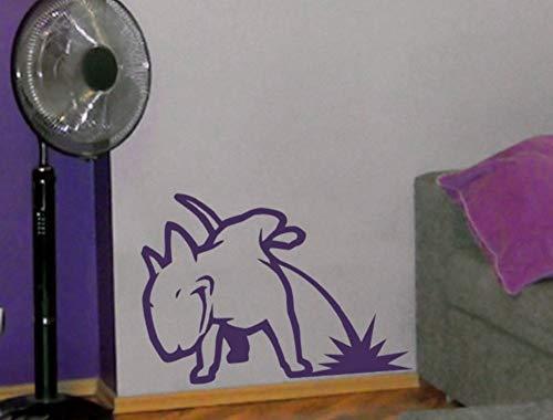 Zjxxm Hund Pissen Bullterrier Vinyl Wandaufkleber Tiere Wandtattoos Kindergarten Kinder Schlafzimmer Wohnzimmer Dekoration Haustiere Kunstwand 45 * 56 Cm -
