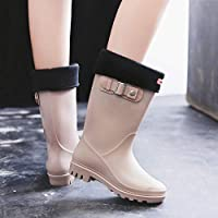 FDDSSYX Rainboots For Women,Womens Wellies Waterproof Ladies Fashion Retro Short Tube Wellington Rain Shoes Warm Thicken Rain Boots Music Festivals Water Boots
