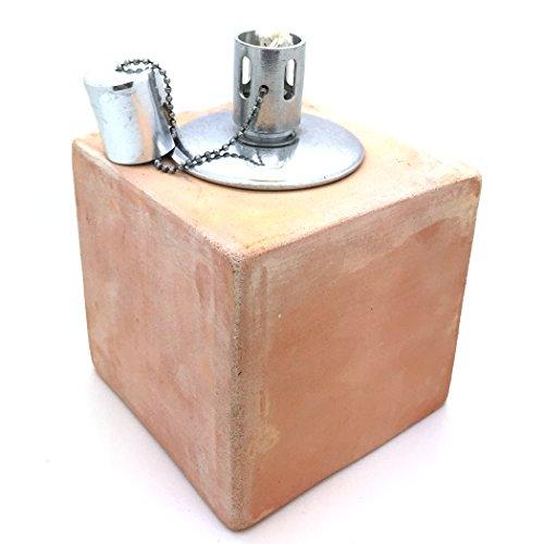 Carré en terre cuite lampe à huile – 14 cm