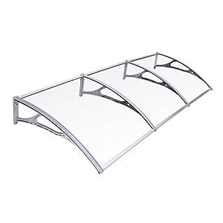 SONGMICS GVH279 Pent Canopy Door Canopy Front Door Roof 275 x 90 cm Transparent + Grey