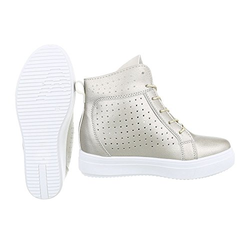 Sneakers Ital-design Alte Scarpe Da Donna Sneakers Alte Zeppa / Zeppa Zeppa Scarpe Con Tacco Cerniera Casual Oro Nb53p