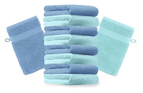 Betz lot de 10 gants de toilette taille 16x21 cm 100% coton Premium couleur bleu turquoise, bleu clair