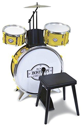 Bontempi 51 4531 Metallisiertes Schlagzeug: Baßtrommel Ø 385 mm mit Pedal. 2 kleine Trommeln Ø 170 Becken Ø 210 mm. 2 Schlagstöcken. Echte Sounds. Inkl. Hocker. Maße: 500x500x680 mm
