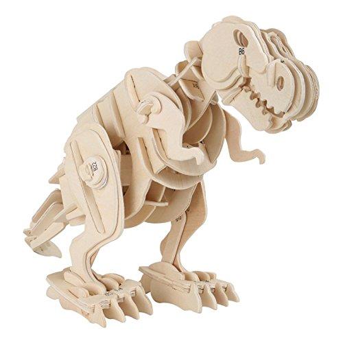 Holzbausatz Dino Roboter T-Rex, Puzzle-Figur und Roboter in einem, Füße, Schwanz, Kopf und der Körper bewegen sich mechanisch, Dino macht laute Brüllgeräusche, für kleine Urzeit-Fans ab 5 - Roboter-t-rex