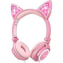 Auriculares Infantiles, ifecco Plegable Auriculares con LED Orejas de Gato conectividad belte Over Ear Headset
