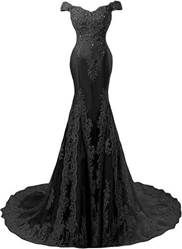Sunvary Romantisch Neu Lang Spitze Mermaid Traeger Abendkleid Ballkleider-42-Schwarz-1 (Schwarz Spitze Mermaid Prom Kleid)