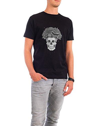 """Design T-Shirt Männer Continental Cotton """"Skull with flowers"""" - stylisches Shirt Floral Natur Menschen Streetart von Valeriya Korenkova Schwarz"""