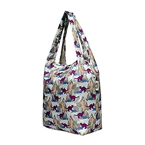 Re-Uz Trendy Folding Reusable Waterproof Carrier Shopper Supermarket Gym Swim Grocery Tote Bag - New Kitty Cats