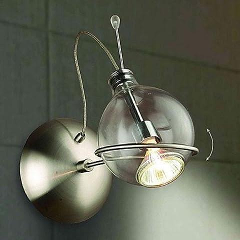 Industriale moderna parete in ottone applique Lampada parete retrò luce Vintage rustico muro luce artistiche luce a parete con elegante Globe ombra , 220-240V