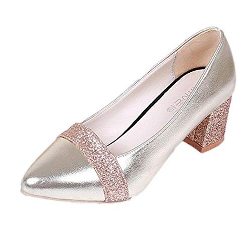 Ohq moda elegante scarpe a punta tacco alto scarpe casual scarpe da sposa donna scarpe tacco alto donna scarpe con i tacchi degli zoccoli scarpe quadrate (41, oro)