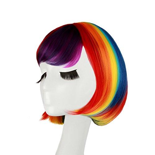 gen ca.30cm für Damen und Frauen,glatte Bunte Kurzhaarperücke für Kurzhaar Halloween Vika oder Mottopartie Karneval (Regenbogen-halloween-kostüme)