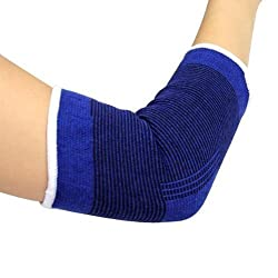 Digital Dukan One Pair Of Elastic Elbow Support Gaurd Pain Relief for Gym and Physical Activities (Free Size, Blue)