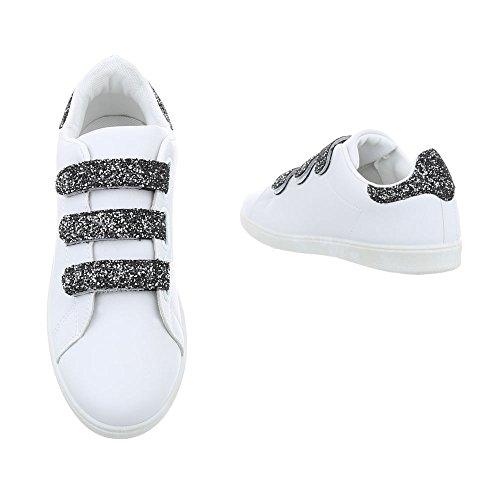 Ital-Design Scarpe da Donna Sneaker Piatto Sneakers Low bianco nero L7281