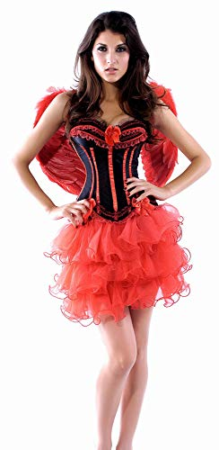 Billig Teufel Kostüm - R-Dessous Damen Kostüm Corsage + Flügel + Rock Tutu Halloween roter Engel Bad red Angel Fee Groesse: S