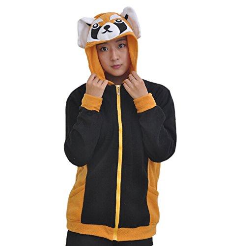 (Fandecie Erwachsene Unisex Tierkostüme Cosplay Kostüm Hoodies Zipper Sportbekleidung Lässige Jacket Coat Kapuzen Waschbär Geeignet für Hohe 160-175CM)