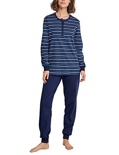 Schiesser Damen Zweiteiliger Schlafanzug Anzug lang, Blau (Dunkelblau 803), 38