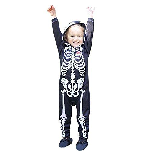 r - Halloween-Kostüm - Kinder Kostüm Schädel Strampler Overalls Mit Kapuze Halloween Kostüm Verkleidung Karneval Party von Innerternet ()
