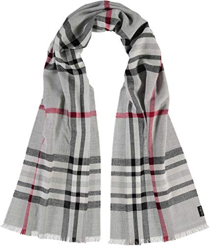 FRAAS Karierter Schal für Damen & Herren XXL - Made in Germany - Moderner Decken-Schal - The Plaid mit Karo-Muster Grau