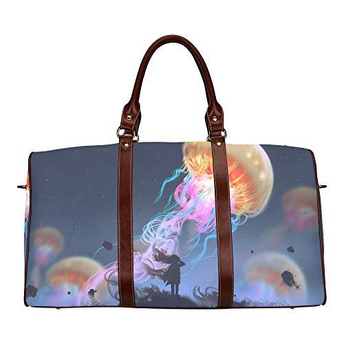 Reisetasche Aquarium of Jellyfish, Fish, Seaweed wasserdichte Weekender-Tasche Reisetasche Women Ladies Tote Bag Mit Mikrofaser-Leder-Gepäcktasche