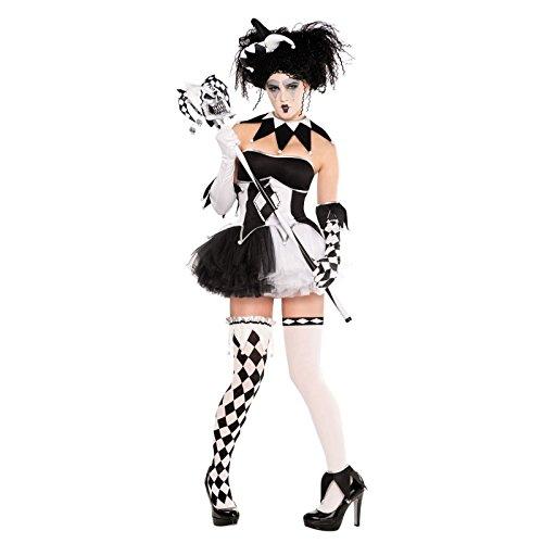 Harlequin Tricksterina Honey Harley Quinn Batman Baddy Kostüm 9 Erinnerungsstücke, Größe 42-44, Schwarz und Weiß, Sexy Strümpfe, mit Korsett und Tutu (Harley Quinn Korsett)