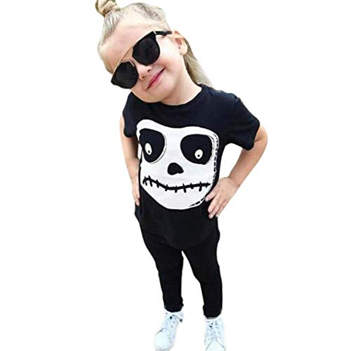 Kleinkind Outfits, Halloween Baby Jungen Mädchen Kurzarm schwarzer Druck Schädel Print Tops Hosen Halloween Kostüm Set Moginp (90, Schwarz) (90's Halloween Kostüme)