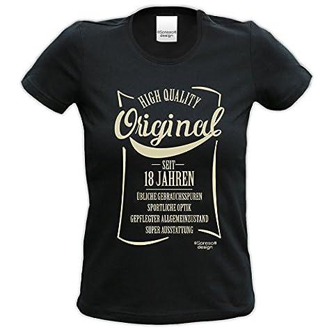 Geschenkidee Frauen Geschenk zum 18. Geburtstag :-: Damen kurzarm T-Shirt Original seit 18 Jahren :-: Geburtstagsgeschenk Schwester Mama Freundin Farbe: schwarz Gr: S