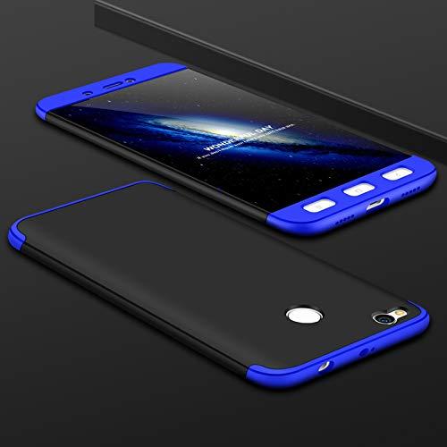 Ququcheng Xiaomi Redmi 4X Hülle,Xiaomi Redmi 4X Schutzhülle[Mit Displayschutz] 3 in 1 Ultra dünn Hard Shell Case 360 Grad Schutz Tasche Etui Handyhülle Cover für Xiaomi Redmi 4X-Blau Schwarz