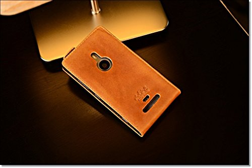 Urcover® Nokia Lumia 925 | Funda Carcasa Akira | Cuero en Marrón Flip | Hecho a mano Case Cover Protección Smartphone Móvil Accesorio
