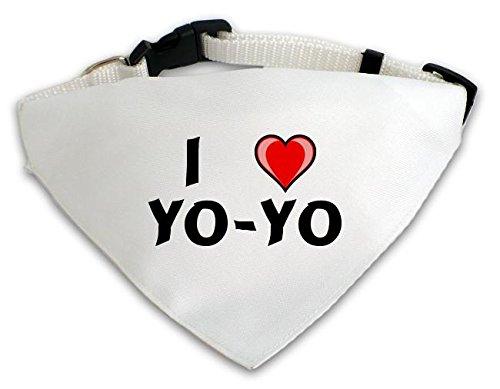 Personalisierter Weißer Hundschal mit Aufschrift Ich liebe Yo-yo (Vorname/Zuname/Spitzname)