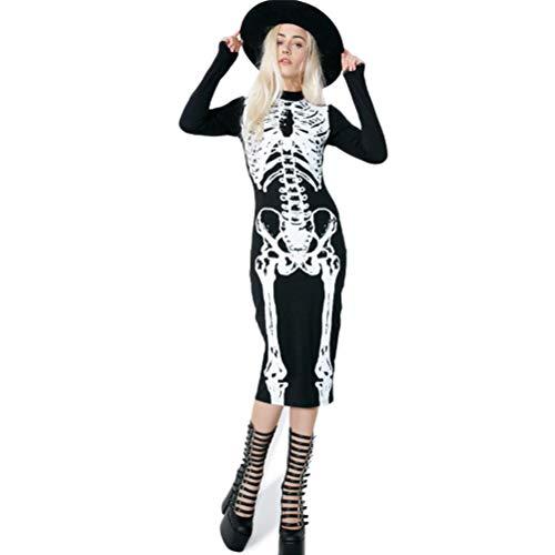 Tag Der Toten Kostüm Plus Größe - YUFAA Damen Halloween Langarm Skeleton Print