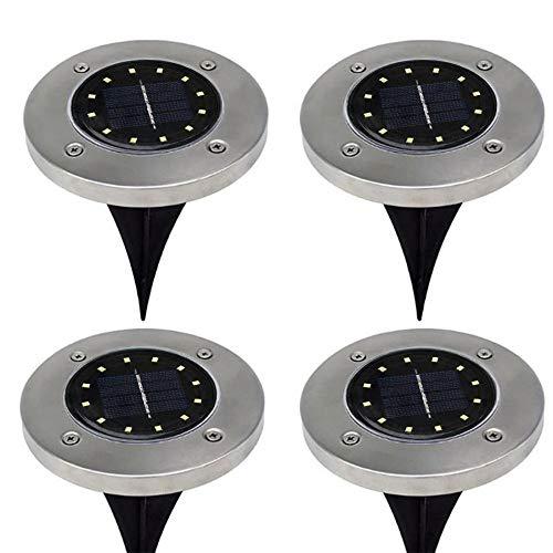 Xenon-streifen-lichter (Dicomi 4er 12-LED Lampen Solar Power Begrabenes Licht unter Boden Leuchte Dekoration Outdoor Garden Silber Silber)