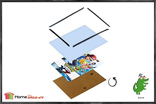 Schnappy Kunststoff Klemmleisten Bilderrahmen 70 x 100 cm Schwarz Hochglanz in verschiedenen Grössen und Mengenpaketen, hier 1 Stck. mit klarem Acrylglas (Große Kunststoff-bilderrahmen)