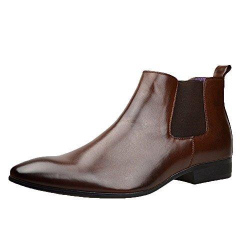Stivali da uomo, eleganti, stivaletti chelsea in pelle nera, stile casual, misure 41-46, marrone (brown), 40