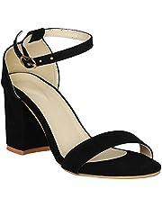 SHOFIEE Women's Single Strap Block Heels Sandal