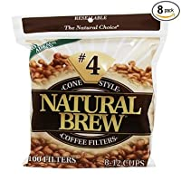 Natural Brew #4 Cone Coffee Filters, Natural Brown Paper, 100-Count Bags (Pack of 8)
