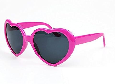 (Fuchsia) Sonnenbrille in Herzform für Frauen Lolita Art polarisierte UV400