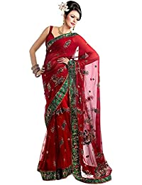 fa2be1aa20 aksh fashion Women's Net Saree with Heavy Zari Border Work and Blouse  (Multicolour)