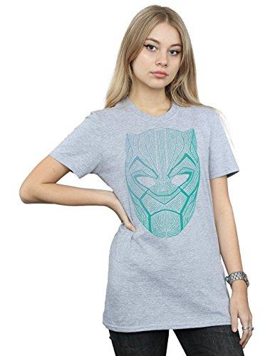 Marvel Femme Black Panther Tribal Mask Petit Ami Fit T-Shirt Sport Gris