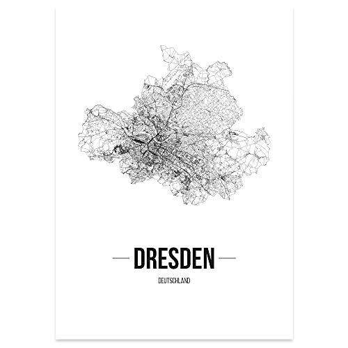 JUNIWORDS Stadtposter, Dresden, Wähle eine Größe, 60 x 90 cm, Poster, Schrift B, Weiß