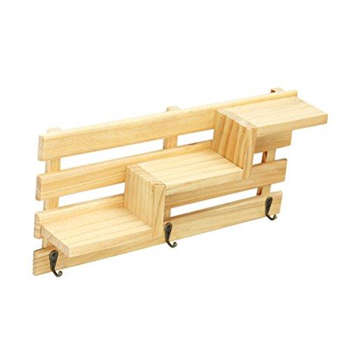 Winomo scaffale a muro in legno rustico vintage 3-tier scaletta da appendere mensole appendiabiti appendiabiti per ufficio cucina da ufficio con 3 ganci a chiave (burlywood)