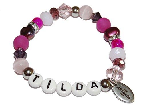 ARTemlos® Handmade Kinder-Armband mit Name aus Edelstahl und Perlen (067)