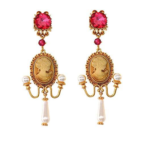 Idin Jewellery Damen-Ohrringe Kamee mit rosa Kristallen und Perlen Edwardian Vintage
