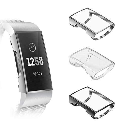 Fintie Hülle kompatibel für Fitbit Charge 3 / Charge 3 Special Edition - [3 Stück] Ultra-Dünn Leichte Hochwertige Polycarbonat Harte Schutz Gehaüse Abdeckung, Schwarz/Transparent/Silber