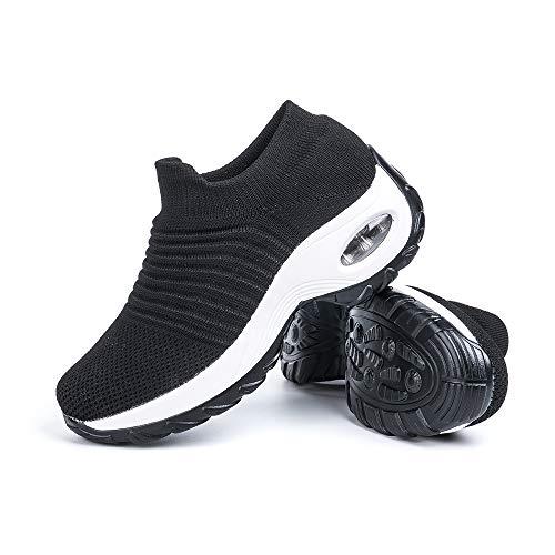 Sneakers Damen Turnschuhe Laufschuhe Sportschuhe Frauen Air Knit Mesh Atmungsaktive Leichte Gym Fitness Bequem Schuhe Schwarz-Weiße Größe 39