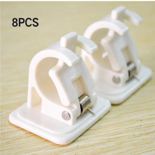 PiniceCore 2 / 8pcs Self Adhesive Rail-Rack-Startseite Praktisches Badezimmer Lagerung Clip für einfache Befestigung Crossbar Aufhänger Gardinenstangen Bracket Wandhaken -