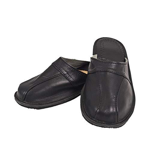 DF-SOFT Herren Herrenpantoffel Pantoffel Hausschuhe Haus Schuhe Leder Pantoffel Lederpantoffel Pantoletten Schlappen Modell 79 (45 EU)