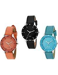 Just like Analogue Multi Color Dial Women's & Girl's Combo of 3 Watch -